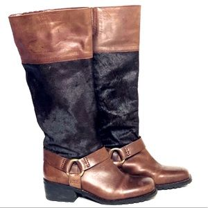 Lucky Brand Leather & Hair Calf Moto Boots